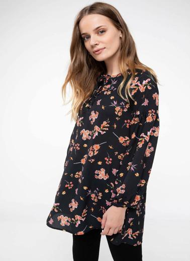 DeFacto Floral Desenli Tunik Siyah